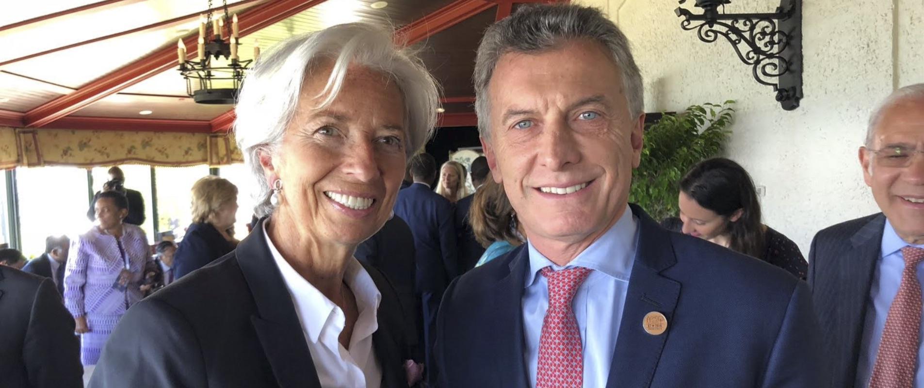 Christian Lagarde, titular del FMI, junto al presidente Mauricio Macri